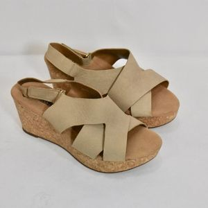 Clarks Taupe Leather Cork Wedge Sandals Wide  8.5W